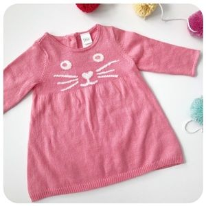 {{ Nordstrom Baby }} Pink Kitty Face Knit Dress